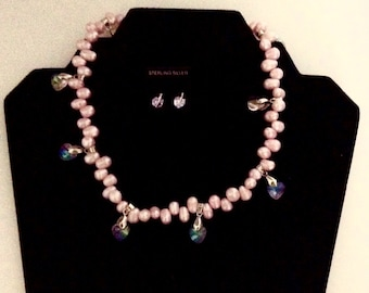 Freshwater pink pearl and heart necklace
