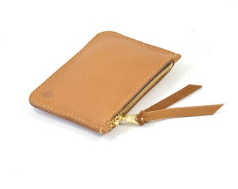 Tan Brown Leather Zip Pouch Purse Wallet Handmade