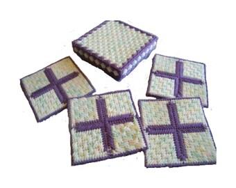 PATTERN: Purple Cross Coaster Set with Box Plastic Canvas Pattern
