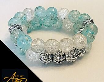 A&B Custom Bracelet Set, Aqua Blue w/ Rhinestones