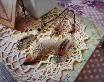 Three Decorative Beaded Feather Hairpieces