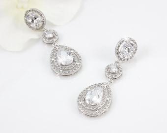 Sandrine - Wedding Earrings, Bridal Earrings, Crystal Teardrop Earrings, Wedding Jewelry, Cubic Zirconia, CZ Drop Earrings, Bridesmaid Gift