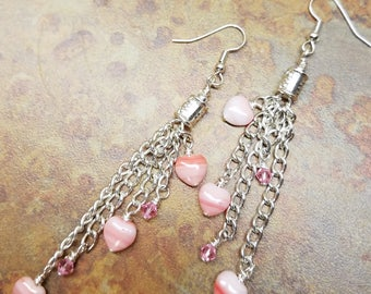 Chain with pink heart and crystal tassel earrings