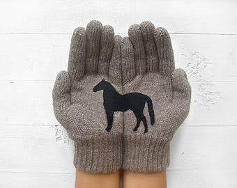 Winter Gloves, Horse Gloves, Horse Lover Gift, Winter Sale, Gift For Friend, Gift For Her, Horse Gift, Birthday Gift, Discount, On Sale