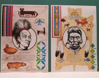 American Indian 2 Posters Chief Joseph Black Hawk Vintage Wall Art Boys Room Western Native American Nez Perce Set Southwestern
