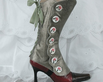 Ankle Leather Buttons Gaiters Silver