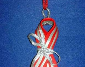 OOAK Hand Made Red Silver Striped AIDS Awareness Ribbon Christmas Ornament 13