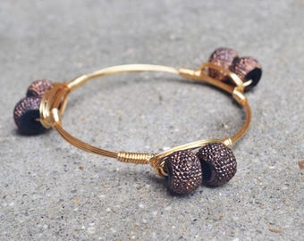 Gold Wire Wrapped Bangle with Acrylic Beads, Bourbon and Boweties Inspired