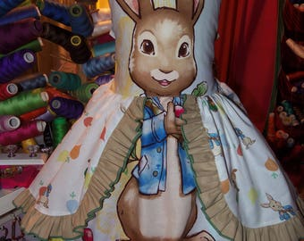 Vintage fabric Happy Easter Bunny  Peter Rabbit   Dress Size 5t