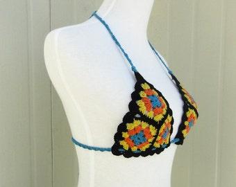 Granny Square Crochet Bikini Halter Top