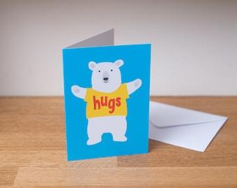 Bear hugs card - illustrated bear card