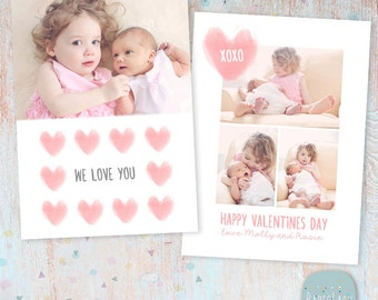 Valentines Day Card - Photoshop template - AV020 - INSTANT DOWNLOAD