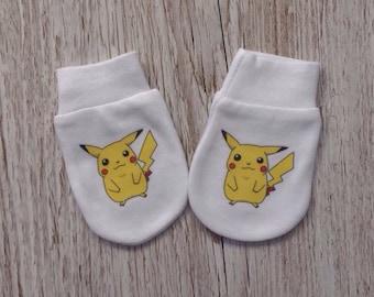 Pokemon inspirrd Cute Pikachu Baby Scratch Mitts