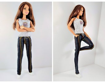 Barbie clothes Barbie Jeans Denim pants for Barbie doll (M2M, Belly Button, regular Fashionista) Slim jeans and gray Barbie shirt