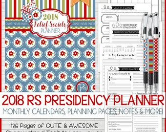 2018 RS Presidency Planner, Relief Society Planner, LDS, Calendar, Organizer - Printable Instant Download