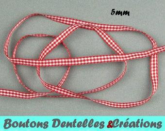 Gingham Red Ribbon version-mini 5mm - 5 m - (red, 05-01)