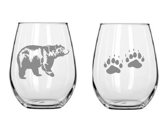 Etched glasses Bear logo,bear paws,Etched wine glasses,Christmas Gifts,stemless wine glass,personalized gift,customized glass,bear glass