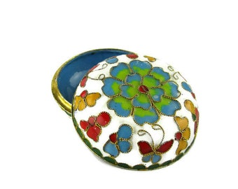 Chinese Cloisonne Trinket Box/ Keepsake Enamel Lidded Dish/ Wedding Ring Box /White enamel Floral Box/ Small metal Butterfly Gift Box