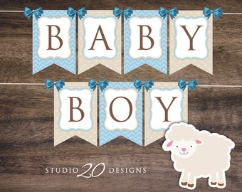 Instant Download Blue Lamb Baby Shower Banner, Little Lamb Bunting Banner, Printable Bunting Flags, Blue Lamb Pendent Banner for Boy #39B