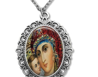 Virgin Mary Holy Mother Russian Orthodox Icon Pendant  Necklace Christian Jewelry