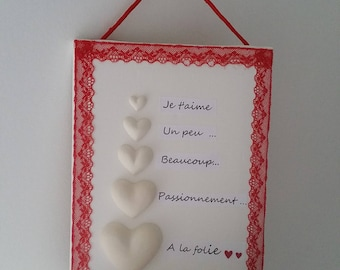 """Frame Saint Valentine's day red lace passion plaster hearts """"I love a bit much passionately madness..."""""""