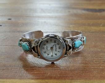 Vintage Zuni Turquoise Sterling Silver Watch Bracelet by Wayne & Josie Panteah