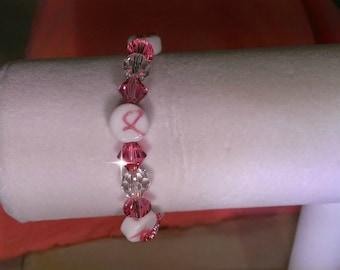 Pink Swarovski & clear crystals ,cancer beads braclet !