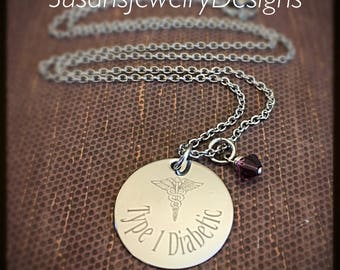 READY • TO • SHIP - Medical Alert Engraved Necklace - stainless steel 1 sided disc - choice of chain & Swarovski crystal - Type 1 Diabetic