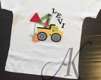 Boys Construction Truck Birthday Applique Shirt