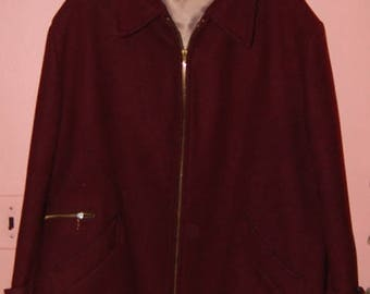 50s Men's Car Coat Wool Burgundy Warm Winter Coat by Kislin's XL Xtra Large Plaid Lining Vintage 1950s