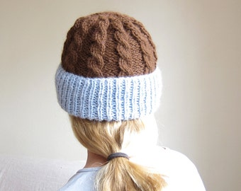 Cable Knit Hat of Superfine Alpaca in Chocolate and Sky Blue