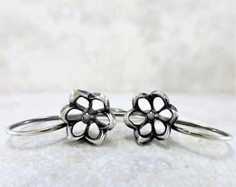 Silver Earrings ~ Flower Earrings ~ Sleeper Earrings ~ Small Drop Earrings ~ Lightweight Earrings ~ Sterling Earrings ~ Minimalist Earrings