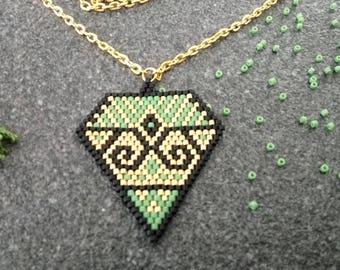Weberei Brickstitch Form Diamant-Halskette