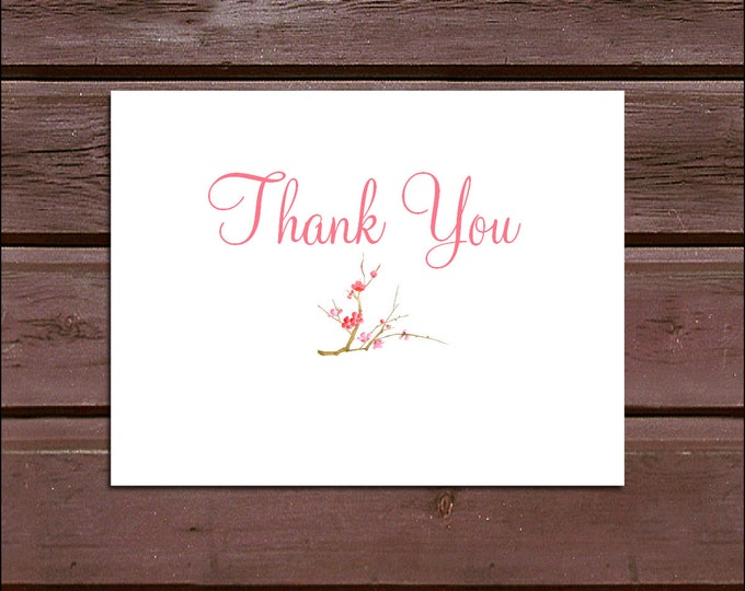 100 Cherry Blossoms Wedding Thank You Notes