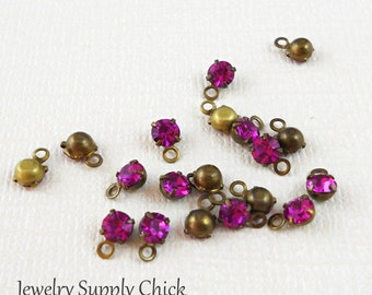 Fuchsia crystal 4mm drop (x12)