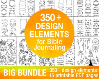 350+ printable templates BIG BUNDLE for bible journaling verse art, illustrated faith bible clipart stamps, scripture art stencils