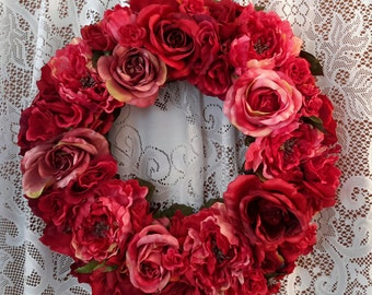 Wreath Old Fashioned Roses, Door shades of rosea