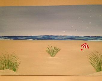Abstract beach scene 24x36x1.5 canvas..nautical,ocean painting,umbrella painting,wall decor,canvas art,landscape.