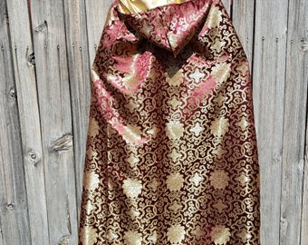 Regal Mandala Pattern Hooded Brocade Cloak in Maroon and Gold with or without a Gold Faux Velvet Lining