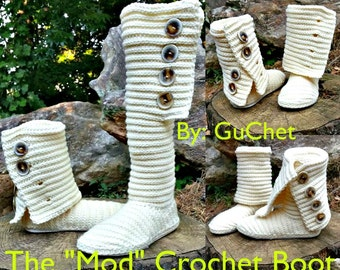 Crochet Boot Pattern - Crochet Shoe Pattern - Crochet Slipper Pattern  Crochet Christmas Pattern - Plus Size Crochet - PDF Crochet Pattern