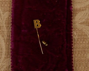 "SALE WAS 75 14K Monogram Stick Pin ""B"" rsb"