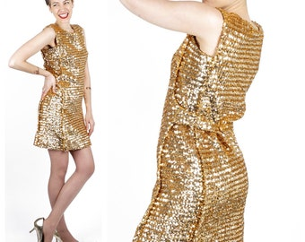 Vintage 60's Gold Bling Sequined Knit Fitted Wiggle Sleeveless Mod Mini Dress for VLV | Small Medium