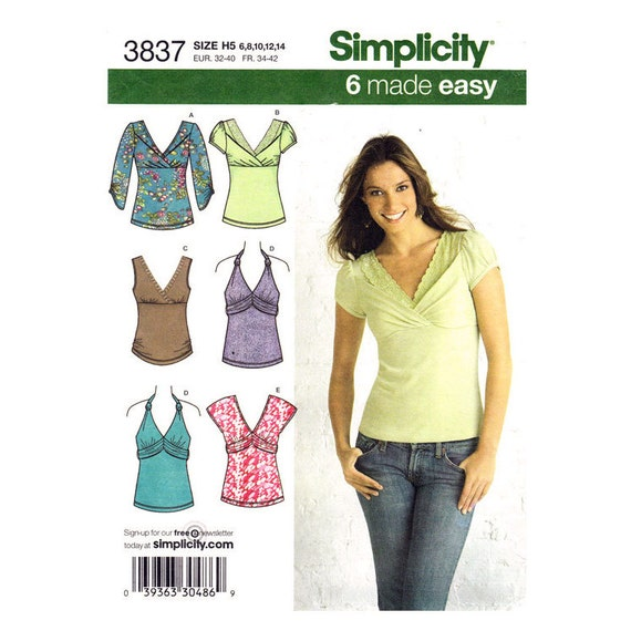 Womens Knit Top Pattern Simplicity 3837 Halter Top or Pullover ...