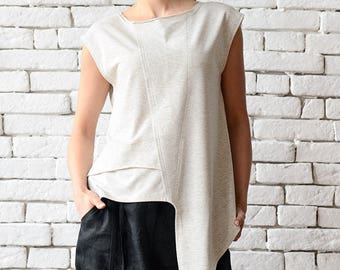 Off White Asymmetric Top/Extravagant Sleeveless Tunic/Light Grey Casual Vest/Modern Tail Top/Loose Tunic Top/Plus Size Sleeveless Shirt