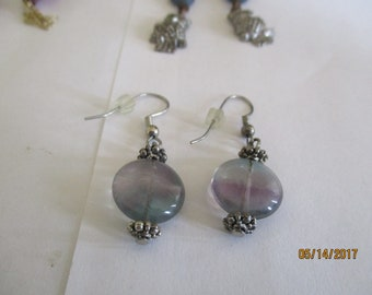 fluorite,dangle,silver tone fish hook ear wires,elegant