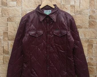 Vintage Wrangler Snap Button Rare Long Sleeve Maroon Oxford Snow Sweater, Wrangler Outerwear Green Boro U.S.A #14-1