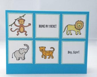 Jungle Birthday Card  in Blue