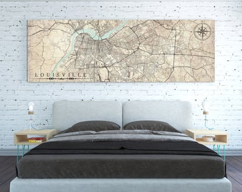LOUISVILLE KY Canvas print Kentucky KY Vintage map Louisville Ky City Horizontal Panoramic long Wall Art Vintage map Travel Gift Idea retro