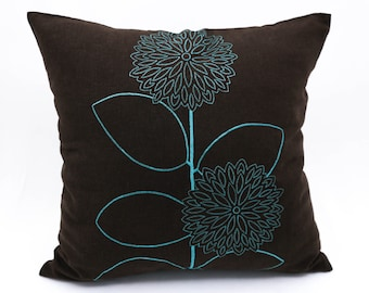 Teal Throw Pillow Cover, Dark Brown Linen Pillow, Floral Pillow Cover, Embroidered Pillow, Teal Flower Cushion, Floral Bedding, Couch Pillow