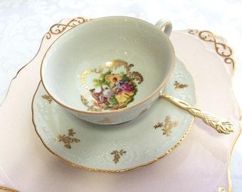 Vintage Bavarian Porcelain Zeh Scherzer Co.tea cup and saucer, Germany, Fragonard scene